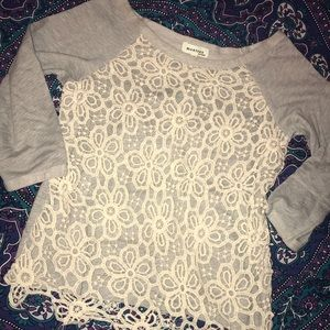 Floral lace overlaid grey sweater